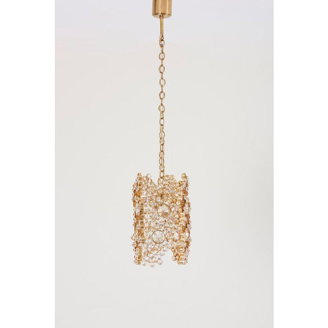 Hollywood Regency One of Three Palwa Gilded Brass and Crystal Glass Encrusted Pendant Lamps For Sale - Image 3 of 11