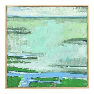 """Green Near Here"" Contemporary Landscape and Seascape Acrylic Painting, Framed For Sale"