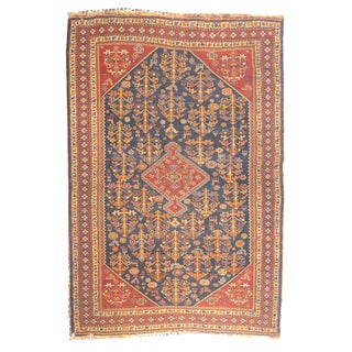 "1920's Antique Persian Qashqai Rug- 3'8"" X 4'10"" For Sale"