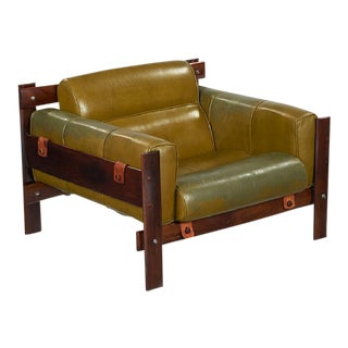 "Rare ""Mp-51"" Leather and Brazilian Rosewood Lounge Armchair by Percival Lafer, Brazil 1970s For Sale"