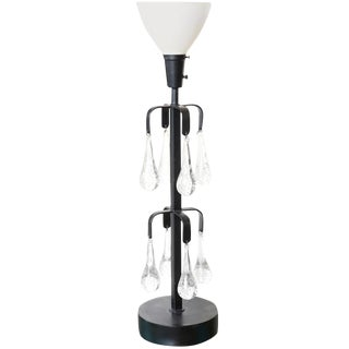 Erik Hoglund Iron and Blown Teardrop Glass Lamp For Sale