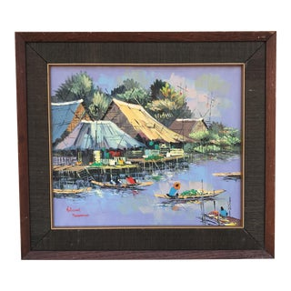 Kitilerk Muhummad Life on the Canals in Thailand Painting For Sale