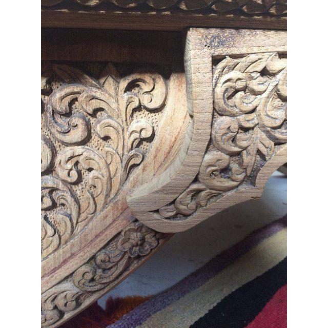 Cotton Antique Carved Wooden Elephant Saddle Chair With Hand Woven Textile Cushion For Sale - Image 7 of 11