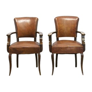 Vintage Leather & Wood Bridge Chairs- A Pair For Sale