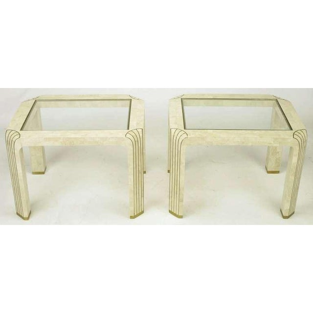 Pair Tessellated Fossil Stone & Inlaid Brass Side Tables - Image 3 of 8