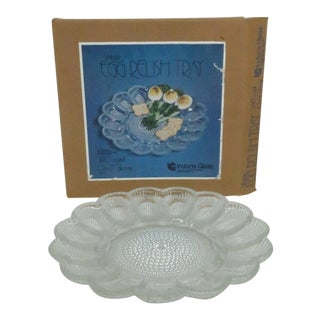 Indiana Glass 2410 Crystal Vintage Egg Relish Tray Plate in Box For Sale