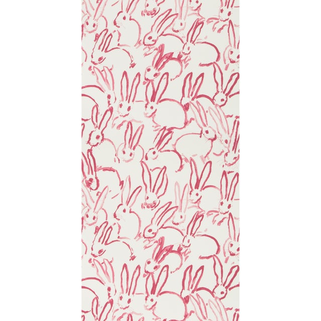 Contemporary Hunt Slonem for Lee Jofa, Hutch Wallpaper Roll, Ivory/Pink, 10 Yards For Sale - Image 3 of 3