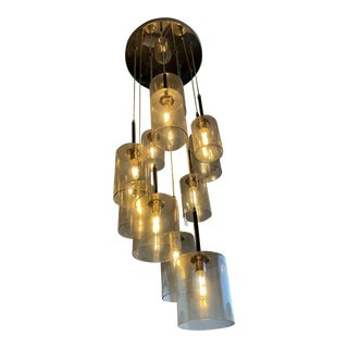 Smoked Glass Cascading Chandelier in Nickel For Sale