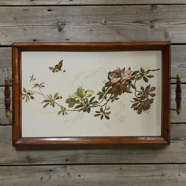 Antique Hand-Painted Tile Serving Tray For Sale - Image 10 of 13