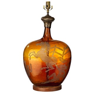 1940s Southwestern Amber Glass Jar Table Lamp For Sale