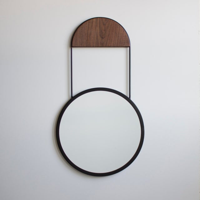 Solid steel construction / patinated lacquer finish / solid wood hanging block 20 in. diameter mirror Steel : Bronze...