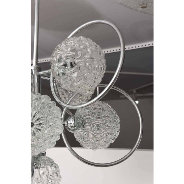"""1960s """"Atomic-Orbital"""" Chandelier in Chrome and Glass For Sale - Image 5 of 11"""