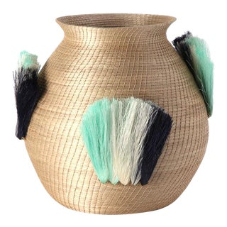 Fanned Out Small Bulbous Vase Flax & Turquoise Fans For Sale