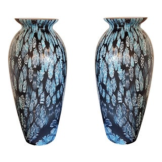 Murina tecnique blue pair of mid century modern Murano glass vases
