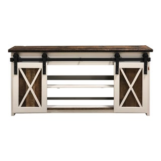 Reclaimed Farmhouse Barn Door Barn Wood Credenza Cabinet Media Console For Sale