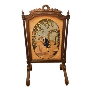 Late 19th Century Antique French Ornate Needlepoint Tapestry and Wood Screen For Sale