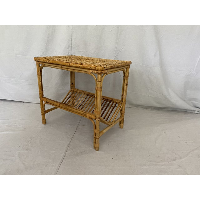 Vintage Rattan Wicker Side Table With Magazine Shelf For Sale - Image 10 of 13