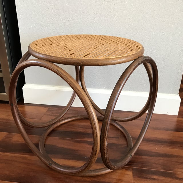 Vintage Bentwood and Cane Ottoman - Image 2 of 5