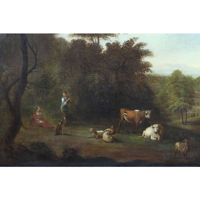 Traditional Georgian Giltwood Overmantle Mirror with Oil on Canvas Pastoral Scene Painting For Sale - Image 3 of 11