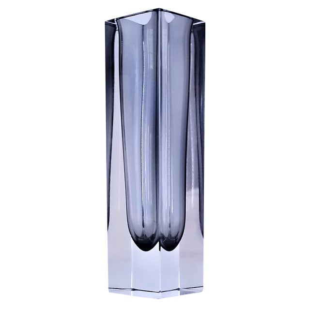 1970s Murano Glass Gray Sommerso Vase by Mandruzzato For Sale