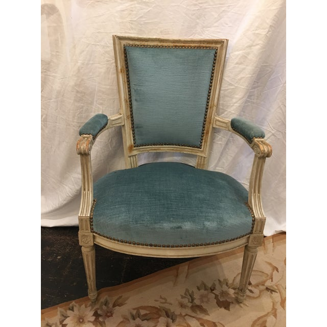 Blue Louis XVI Styled Painted Armchairs in Blue Velvet - a Pair For Sale - Image 8 of 10