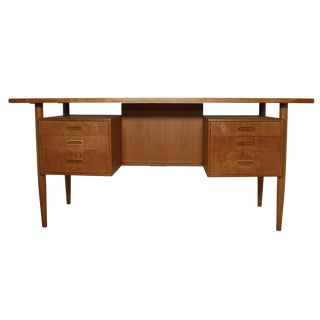 Danish Modern Free Standing Teak Desk For Sale