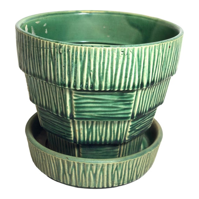 """McCoy Pottery 1940s – 1960s Large"""" Green"""" Mid-Century Flowerpot and Saucer For Sale"""