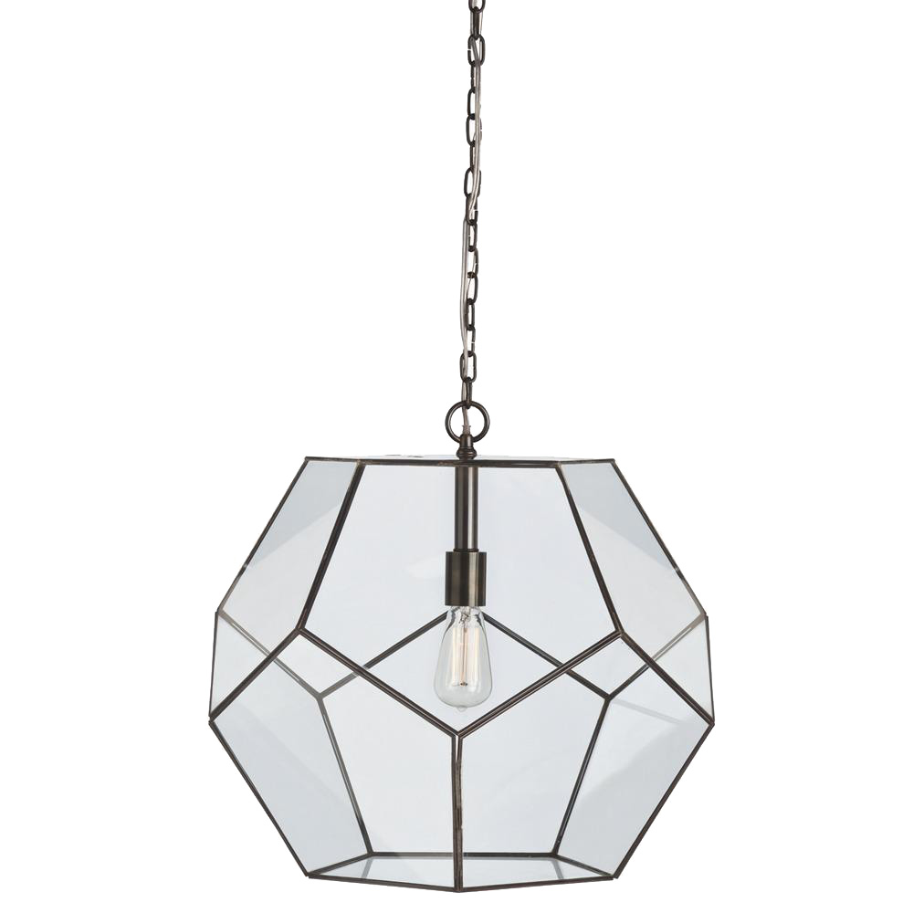 Geometric Tenley Large Glass U0026 Iron Pendant Light