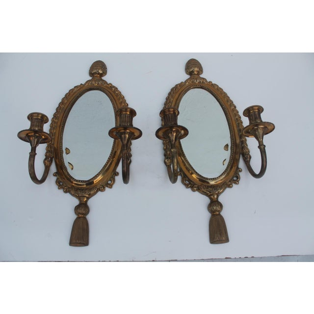 Italian Brass Mirrored Candle Sconces - A Pair - Image 2 of 8