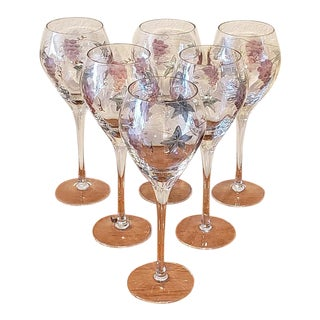 """Set of Six Etched """"Grapes & Leaves"""" Crystal Wine Glasses For Sale"""