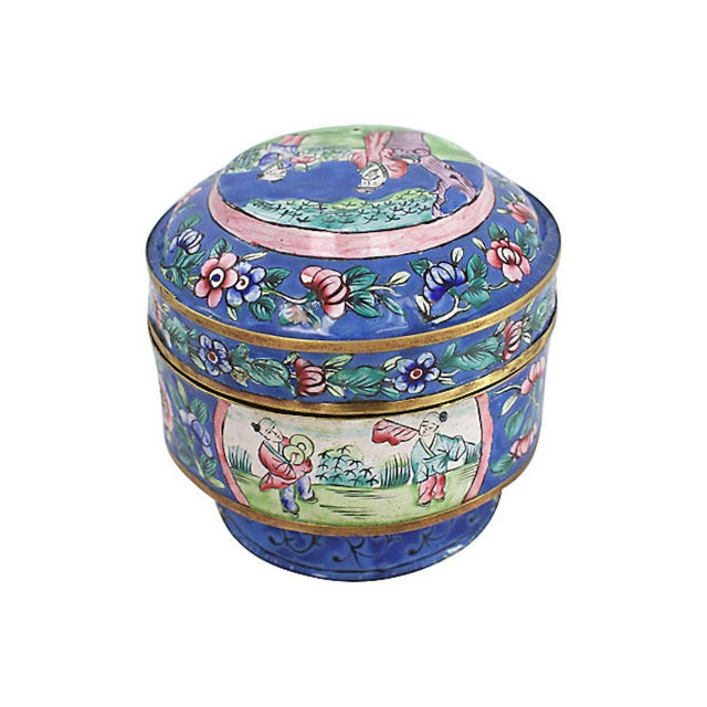 Blue 19th C. Chinese Enameled Box For Sale - Image 8 of 10