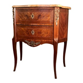 19th Century Louis XVI Style Marquetry 2-Drawer Marble Commode For Sale