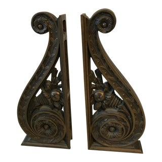 19th Century Art Deco Solid Bronze Bank Sconces - a Pair For Sale