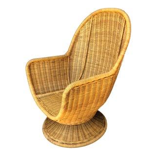 Vintage Wicker Swivel Egg Chair