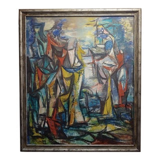 Boris Deutsch -1959 Abstract -Oil Painting -Modernism For Sale
