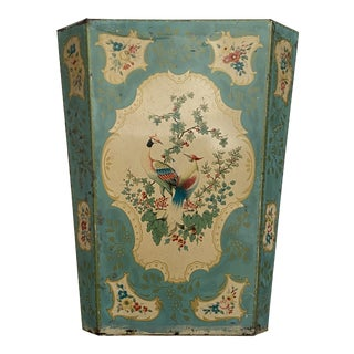 1960's Handpainted Blue Bird Motif Metal Wastebasket For Sale