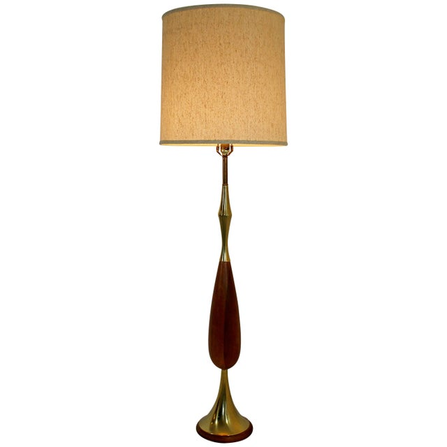 Brown Mid-Century Modern Laurel Brass and Wood Floor Lamp With Original Shade, 1960s For Sale - Image 8 of 8