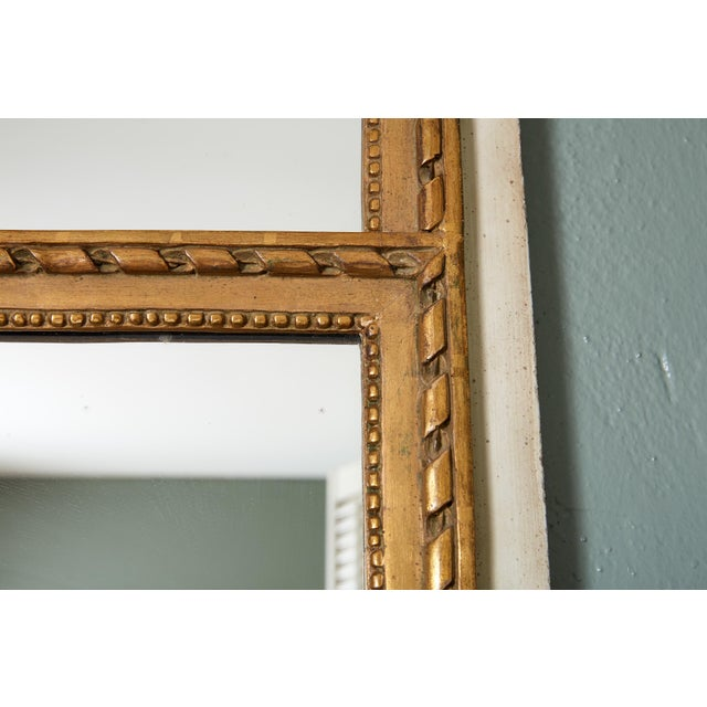 French French Louis XVI Trumeau Mirror in Gray and Gilt For Sale - Image 3 of 8