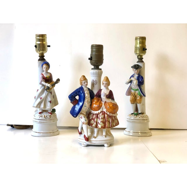 Porcelain Lamps With Musician and Dancer Figurines - Set of 3 For Sale - Image 9 of 13