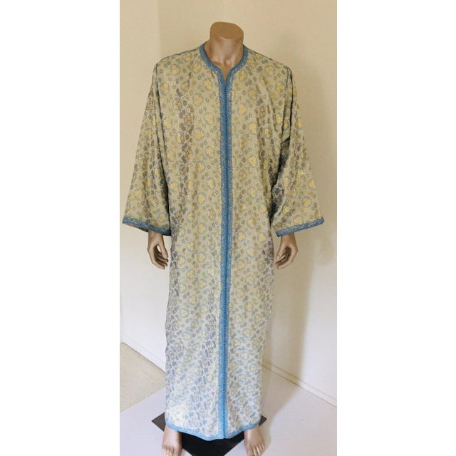 Metallic Blue and Silver Brocade 1970s Maxi Dress Caftan, Evening Gown Kaftan For Sale - Image 13 of 13