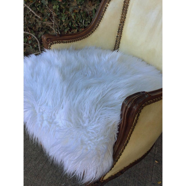 Wood Vintage Leather & Faux Fur Club Chair For Sale - Image 7 of 10
