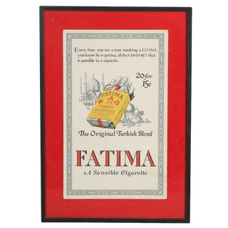 Early 20th Century Antique Framed Original Fatima Cigarette Poster For Sale