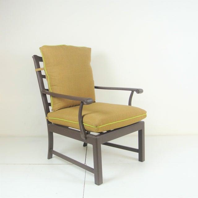 Brown Arlington Club Chair W/ Custom Fit Sunbrella Cushion For Sale - Image 8 of 8