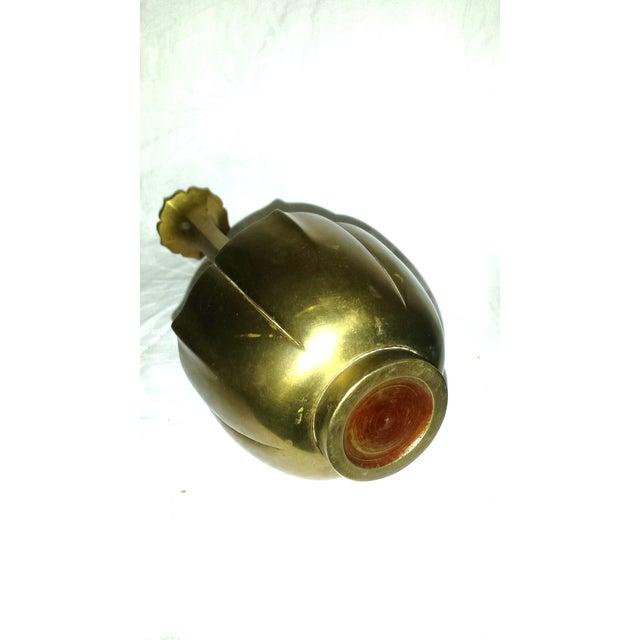 Mid-Century Brass Lotus Vase - Image 4 of 5