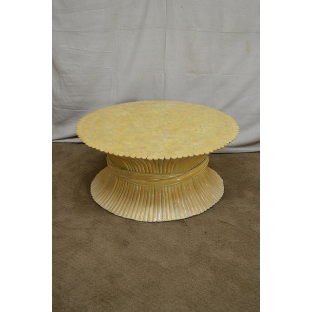 McGuire Style Mid Century Modern Round Wheat Sheaf Rattan Coffee Table - Image 11 of 13