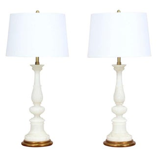 Italian Vintage Carved Alabaster Lamps - a Pair Preview