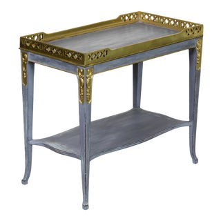 Mid-Century Two-Tiered Accent Table With Gold Painted Accents For Sale