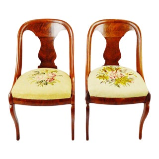Antique French Empire Burl Walnut Side Chairs - a Pair For Sale