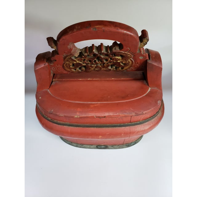 Vintage Chinese Red Painted Wood Food Wedding Basket. A great decorative accessory!