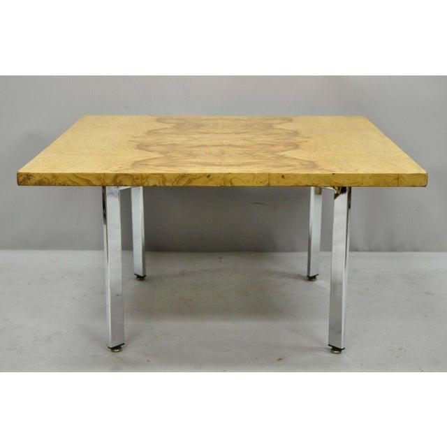 Mid Century Modern Milo Baughman Burl & Chrome Burlwood Square Coffee Table. Item features square burl wood top, chrome...
